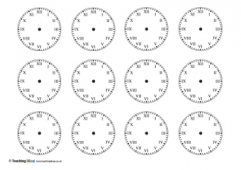 Blank Clocks x12 with Roman Numerals