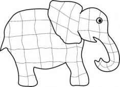 Colour this elephant picture on screen using painting software.
