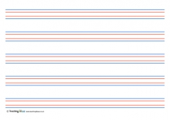 Coloured Handwriting Lines   Large (Landscape)  Handwriting Paper Template