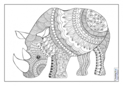 Mindfulness Colouring - Rhino