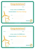Wind Power Challenge - Winners' Certificate