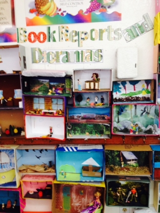 Book Reports and Dioramas Display