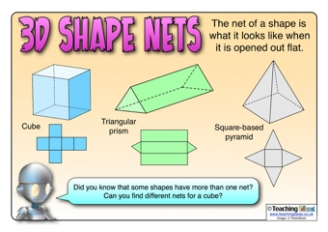 Worksheet 3d Figures With Their Names And Nets 3d shape teaching ideas nets