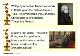 Mozart Fact Cards