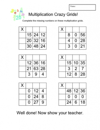Multiplication Crazy Grids