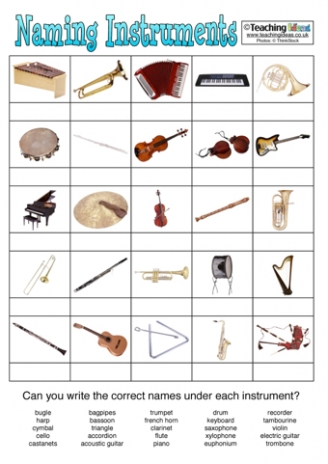 Naming Instruments Activity
