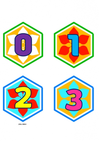 Numbers 0-50 on Hexagons