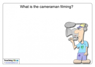 What is the camera man filming?