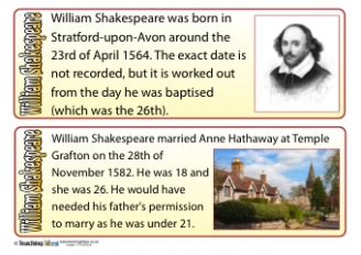 William Shakespeare Fact Cards