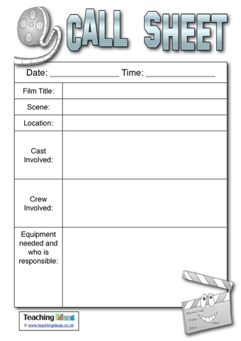 Call Sheet | Teaching Ideas