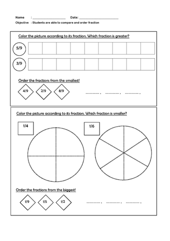 math worksheet : compare and order fractions  teaching ideas : Compare And Order Fractions Worksheets
