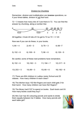Decimal Division by Chunking: A year 6, division worksheet