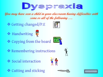dating someone with dyspraxia People with dyspraxia can be extremely intelligent, but find physical movements and activities hard to learn and difficult to maintain, so they appear awkward and clumsy.