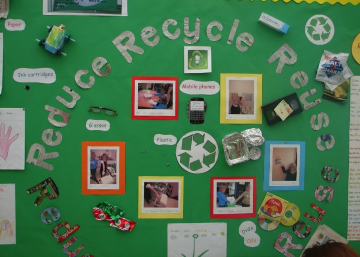 Reduce reuse recycle display teaching ideas for Recycle project ideas