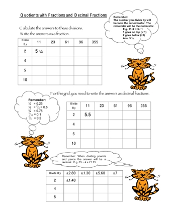 Quotients with Fractions and Decimal Fractions