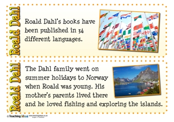 Roald Dahl Fact Cards