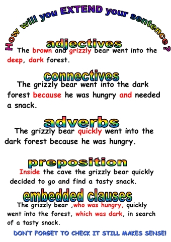 starting and extending sentences teaching ideas