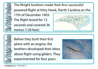The Wright Brothers Fact Cards