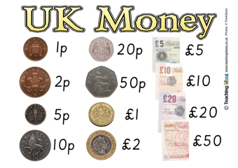 ... different coins and notes in British Pounds using this free poster