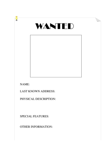 A Wanted Poster Template Which Can Be Used When Thinking About Character  Profiles And Portraits.