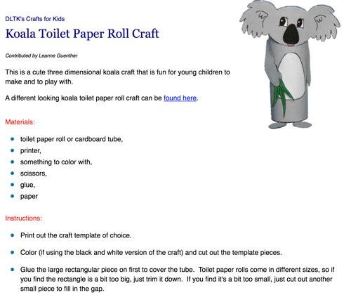 Australia Day Koala Craft