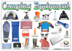 Camping Equipment Word Mat - With Labels