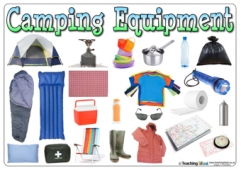 Camping Equipment Word Mat - Without Labels