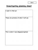 Investigation Planning Sheets