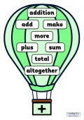 Maths Vocabulary on Hot Air Balloons (with a different font)