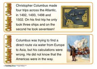 Christopher Columbus Fact Cards