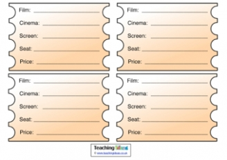 Cinema Tickets Role Play Resource