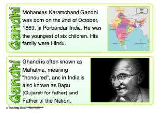 Gandhi Fact Cards