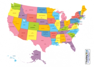 States of the USA Map