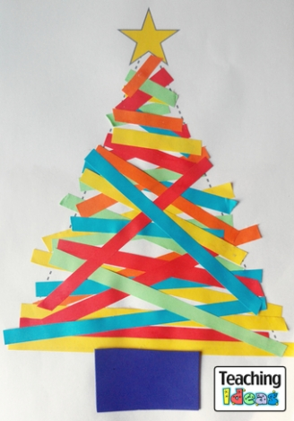 Paper Strip Christmas Trees