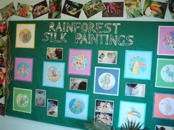 Rainforest Silk Paintings Display