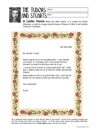 Tudor Letter Writing Activity