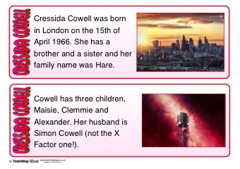 Cressida Cowell Fact Cards