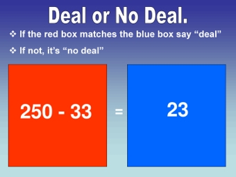 Deal or No Deal Subtraction