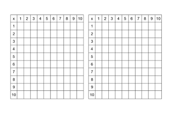 Empty Times Tables Grids Teaching Ideas