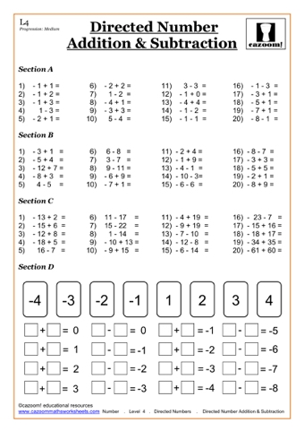 Negative Number Worksheets | Teaching Ideas