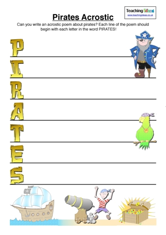 Pirates Acrostic | Teaching Ideas