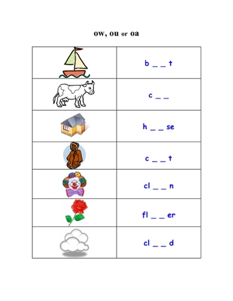 how to teach spelling gown ow words