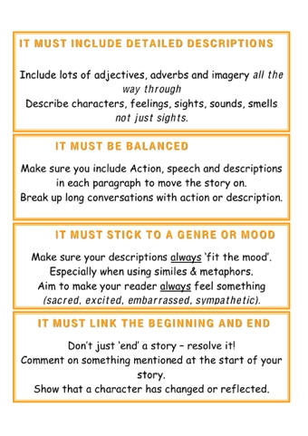 Story Writing Rules