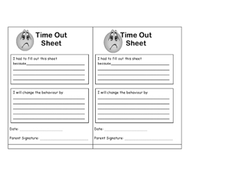 Time Out Sheet Teaching Ideas