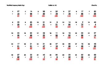 Addition to 10, 100 and 1000 Grids
