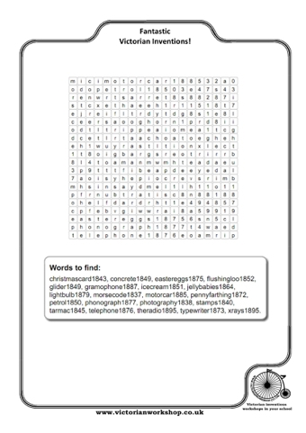 Victorian Inventions Wordsearch